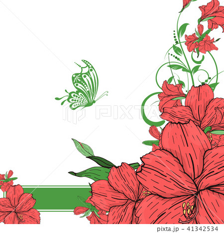 vector flower invitation save the date card のイラスト素材