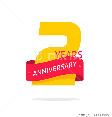 2 years anniversary logo template isolated on white number 2
