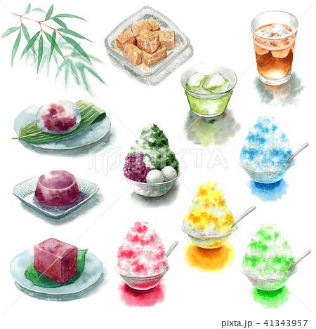 かき氷と夏の和菓子と飲み物の素材いろいろ 41343957