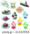 かき氷と夏の和菓子と飲み物の素材いろいろ 41343958