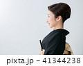 女性 横顔 黒留袖の写真 41344238
