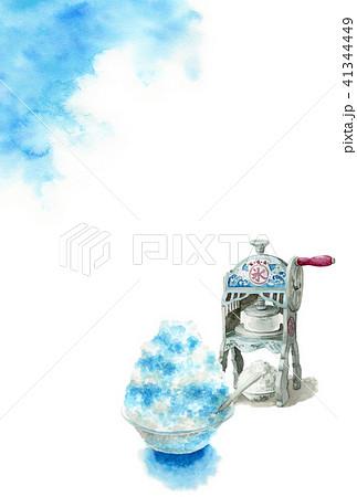 かき氷と青空の暑中見舞いハガキ 41344449