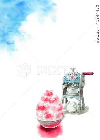 かき氷と青空の暑中見舞いハガキ 41344450