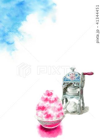 かき氷と青空の暑中見舞いハガキ 41344451