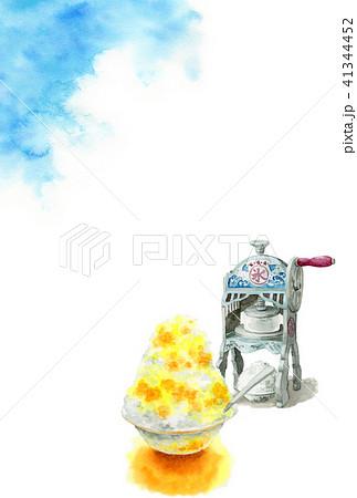 かき氷と青空の暑中見舞いハガキ 41344452