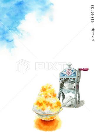 かき氷と青空の暑中見舞いハガキ 41344453