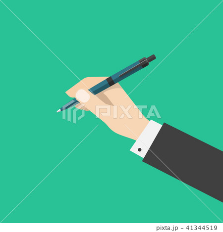 Hand holding pen isolated on green color background 41344519
