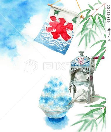 水彩で描いたかき氷と青空と笹の葉 41345239