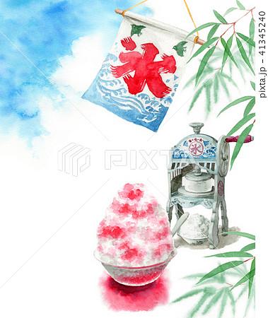 水彩で描いたかき氷と青空と笹の葉 41345240