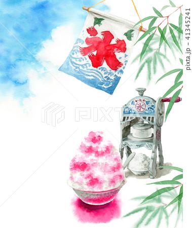 水彩で描いたかき氷と青空と笹の葉 41345241