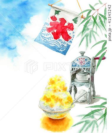 水彩で描いたかき氷と青空と笹の葉 41345242