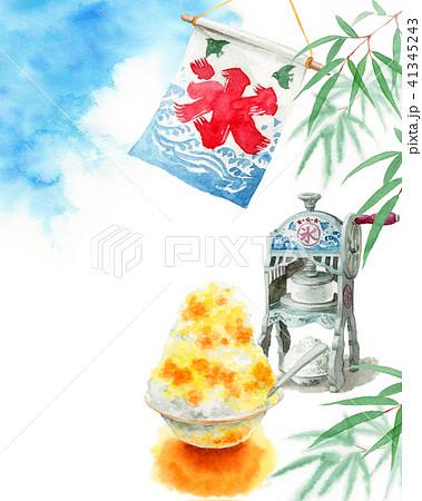 水彩で描いたかき氷と青空と笹の葉 41345243