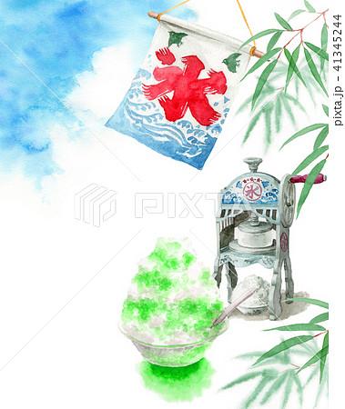 水彩で描いたかき氷と青空と笹の葉 41345244
