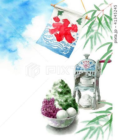 水彩で描いたかき氷と青空と笹の葉 41345245