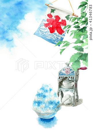かき氷と木の枝と青空の暑中見舞いハガキ 41346783