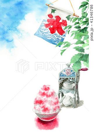 かき氷と木の枝と青空の暑中見舞いハガキ 41346786