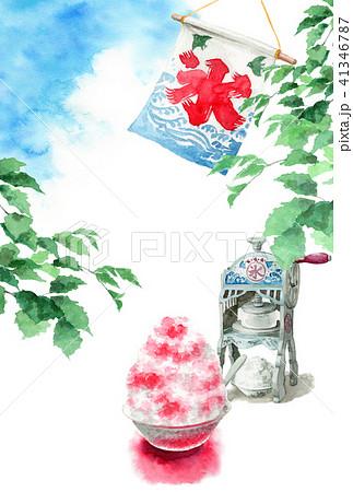 かき氷と木の枝と青空の暑中見舞いハガキ 41346787