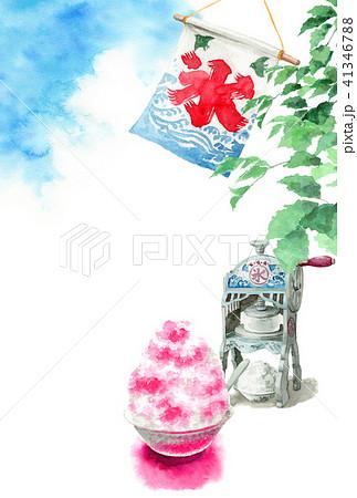 かき氷と木の枝と青空の暑中見舞いハガキ 41346788