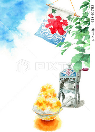 かき氷と木の枝と青空の暑中見舞いハガキ 41346792