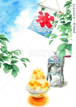 かき氷と木の枝と青空の暑中見舞いハガキ 41347072