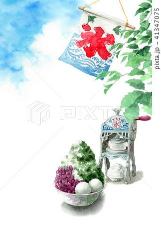 かき氷と木の枝と青空の暑中見舞いハガキ 41347075