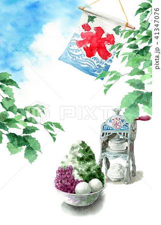 かき氷と木の枝と青空の暑中見舞いハガキ 41347076
