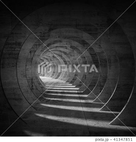 Empty dark concrete tunnel interior perspective 3d 41347851