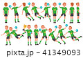Handball Male Player Vector. In Action. Throws Ball In Jump. Poses. Attack Figure. Cartoon Character 41349093