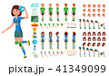 Handball Player Male, Female Vector. Animated Character Creation Set. Man, Woman Full Length, Front 41349099