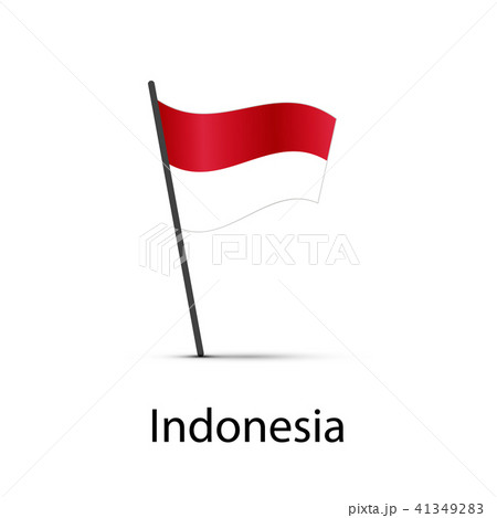 Indonesia flag on pole, infographic element 41349283