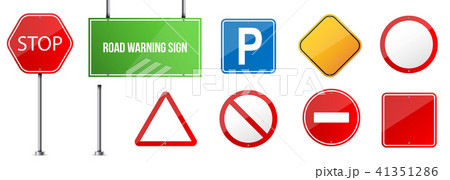 Creative vector illustration of road warning sign isolated on transparent background. Art design 41351286