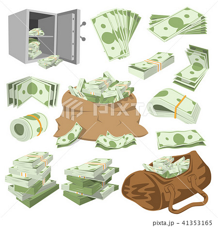 Money vector stack of dollar or currency cash monetary in bank moneysaving and financial business 41353165