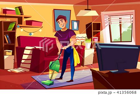 Man cleaning living room vector illustration 41356068