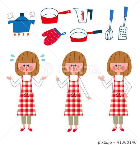 エプロンの女性バリエーションとキッチン用品 41360146