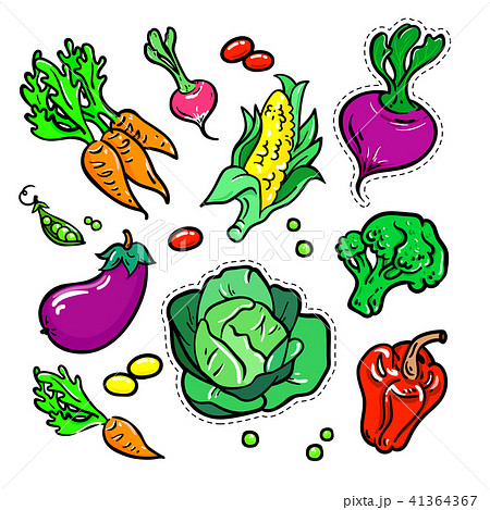 Vegetables - vector isolated retro stickers set 41364367