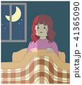 女性 不眠症 睡眠障害のイラスト 41365090