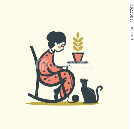 Knitting woman with cat, vector illustration 41367769