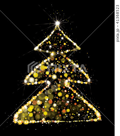 Vector golden, glitter Christmas tree. 41368523