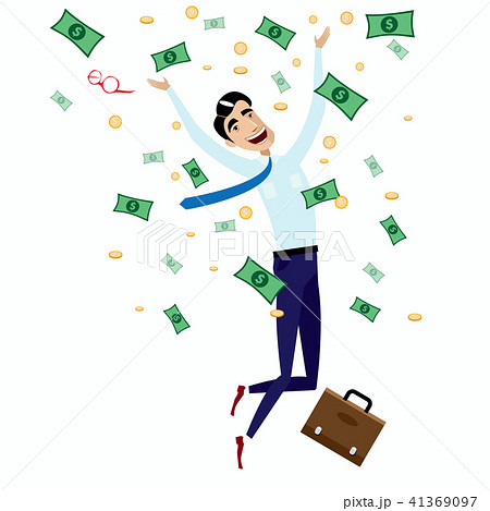 happy businessman jumping with moneyのイラスト素材 41369097 pixta