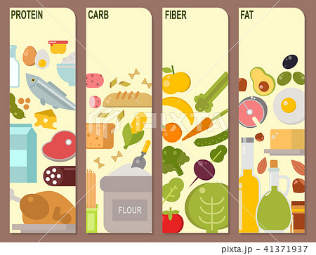 Everyday food common goods organic cards products we get by shopping in supermarket vector 41371937
