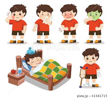 Set of A boy get sick. 41381715