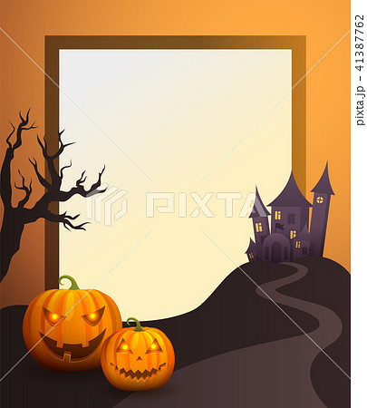 halloween photo frame with old castle and pumpkinsのイラスト素材