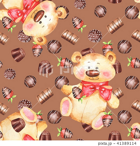 Chocolate candies and Teddy bear. Seamless pattern 41389114