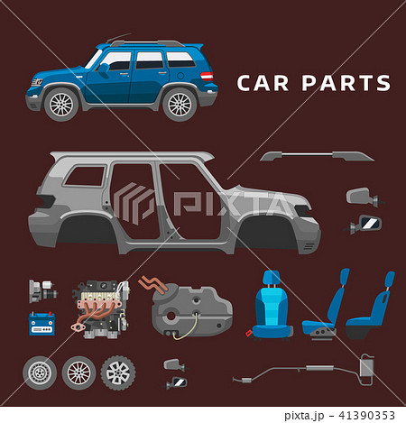 Car service parts flat auto mechanic repair of machines and equipment vector illustration 41390353