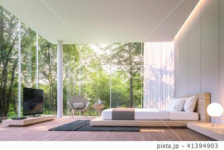 Modern bedroom with garden view 3d render 41394903