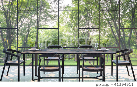 Modern dining room with garden view 3d render 41394911