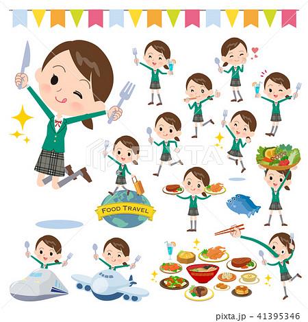 school girl Green Blazer_food festival 41395346