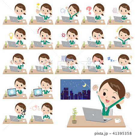 school girl Green Blazer_desk work 41395358