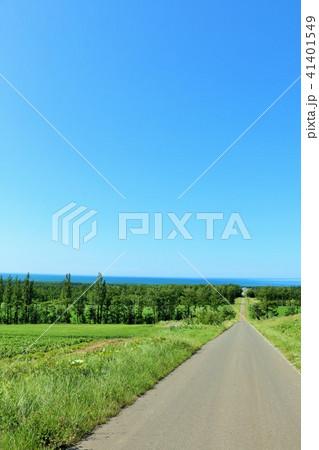 北海道 青空の大地とオホーツク海 41401549