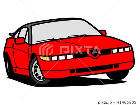イタリアンスポーツカー 赤 自動車イラスト 41405809